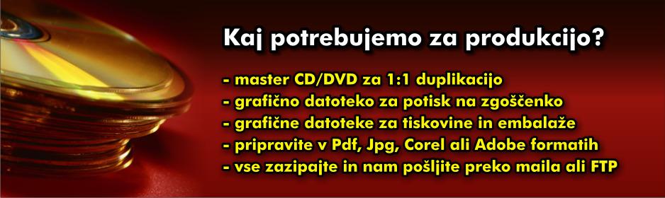 Kaj potrebujemo za produkcijo CD /DVD zgoščenk?